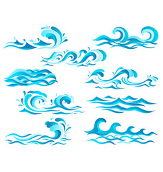 Decorative blue sea waves and surf icons with vector