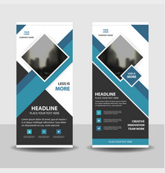 blue square business roll up banner flat design vector image