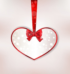 Card heart shaped with silk bow for valentine day vector