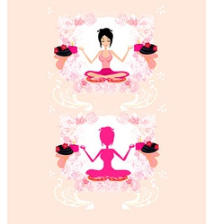 Girl in yoga pose vector