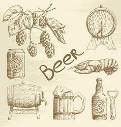 Hand drawn beer sketch vector
