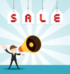 Businessman with megaphone announcement sale vector