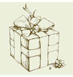 gift box hand drawing vector image