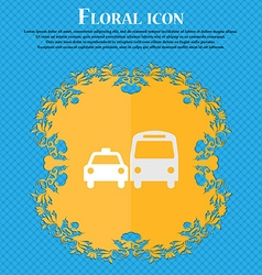Taxi floral flat design on a blue abstract vector
