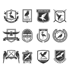 Birds emblems black icons collection vector