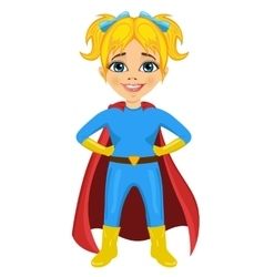 Cute little girl dressed as a superhero vector