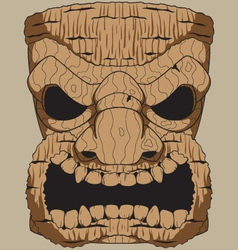Wooden tiki carving vector