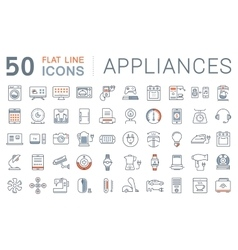 Set flat line icons appliance vector