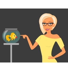 Blond woman wearing stylish haircut and glasses vector