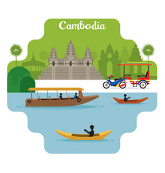 Cambodia travel and attraction landmarks vector
