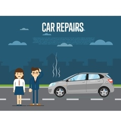 Car repairs concept with people vector