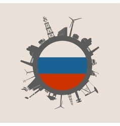 Circle with industrial silhouettes russia flag vector
