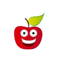 Color red kawaii fruit apple happy icon vector