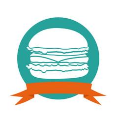 Colorful circular frame with ribbon and burger vector