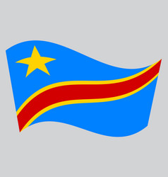 flag of dr congo waving on gray background vector image