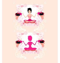 Girl in yoga pose vector