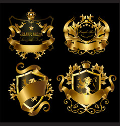 golden royal stickers with crowns shields vector image