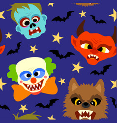 Halloween background seamless with cartoon holida vector
