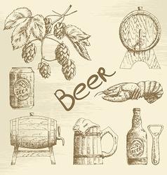 Hand drawn beer sketch vector image