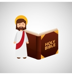 Jesus christ happy with bible design vector