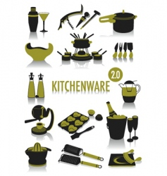 kitchenware silhouettes vector image vector image