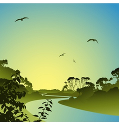 Landscape with river vector