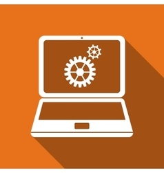 Laptop and gears flat icon with long shadow vector