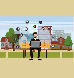 Marketing technology concept man cartoon style vector