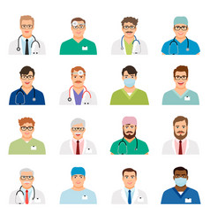 medicine physician men face portrait icons vector image