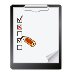 of a clipboard with pencil marking on vector image