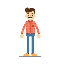 Positive adult man in shirt and pants vector