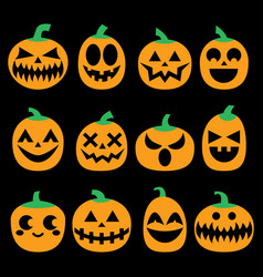 pumpkin icons set halloween scary faces vector image vector image