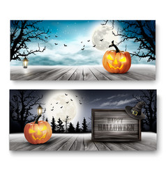 scary halloween banners with pumpkins and wooden vector image