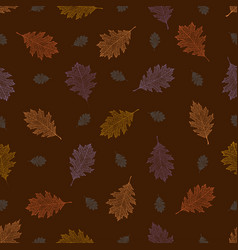 Seamless pattern from autumn vintage leaves vector