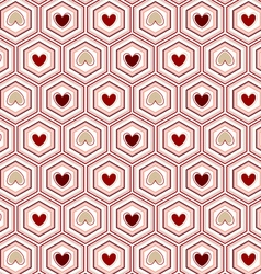 Seamless pattern heart of in the hexagon vector image vector image