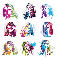 set of art portraits of females drawn in vector image vector image