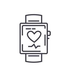 smart watch flat line concept vector image