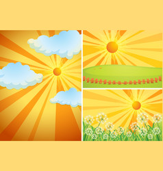 Three background scenes with bright sun vector