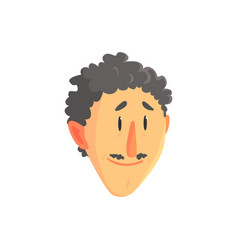 young curly man head positive male face with vector image