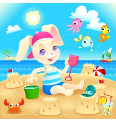 Young rabbit makes castles on the beach vector image vector image