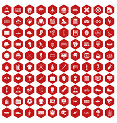 100 mens team icons hexagon red vector