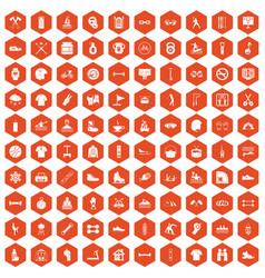 100 sport life icons hexagon orange vector