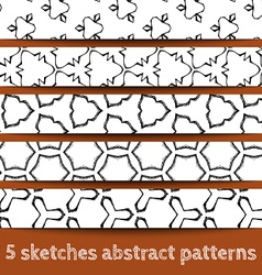 Set of sketches abstract seamless patterns vector