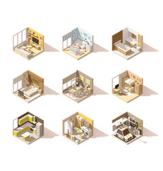 Isometric low poly home rooms set vector