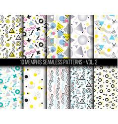 10 universal different geometric memphis seamless vector