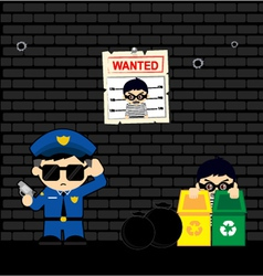 Police vs thief vector
