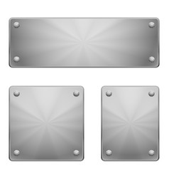 three shiny metal plates of different size with vector image