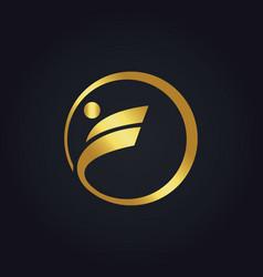 sport circle round gold logo vector image