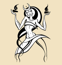 Woman dancing with fire vector