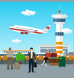 View on airplane and control tower vector